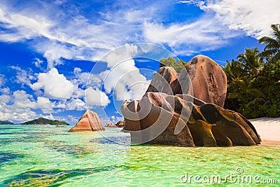 Beach Source d Argent at Seychelles