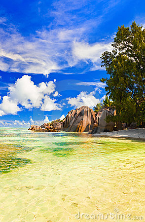 Beach Source d Argent at Seychelles