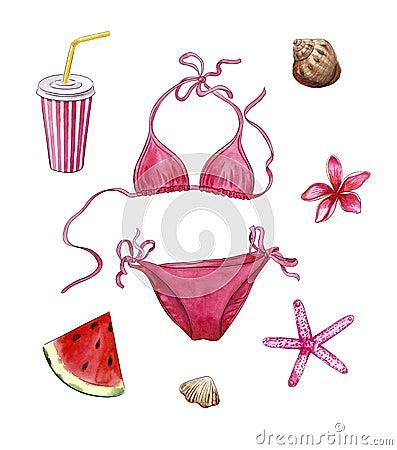 Beach stuff, pink travel set, watercolor objects of vacation: bikini, beverage, plumeria, starfish, shells, watermelon Stock Photo