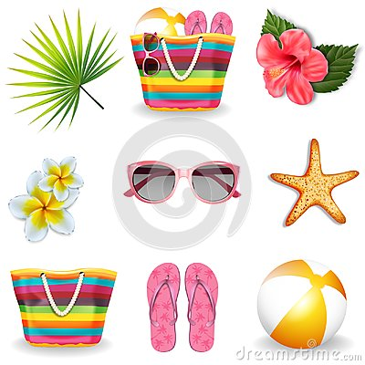 Free Beach Summer Elements Set. Vector Royalty Free Stock Photo - 119911965