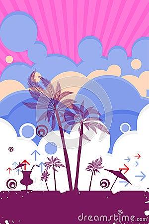 Beach summer poster scene