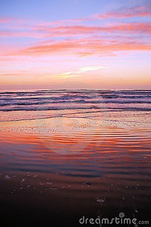 Beach with sunrise colors