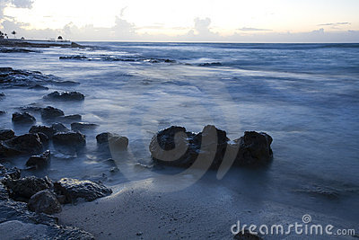 Beach at sunrise on Mexican Riviera Maya