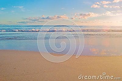 Beach sunrise scene , ocean