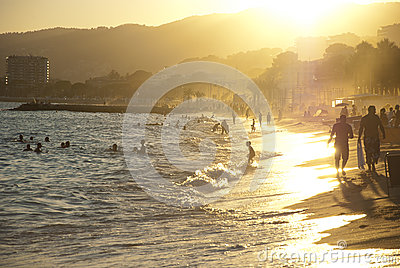 Beach sunset in Cannes, France Editorial Photo