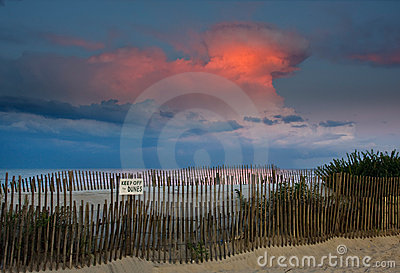 Beach Sunset and Thunderhead