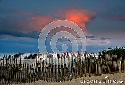 Beach Sunset and Thunderhead