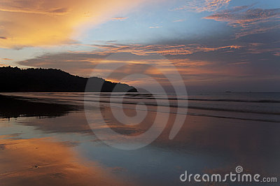 Beach sunset on tropical island
