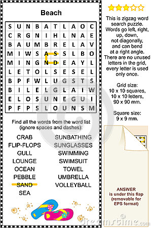 Beach themed wordsearch puzzle