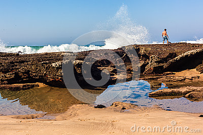Beach Tidal Rocks Waves Male Editorial Photography