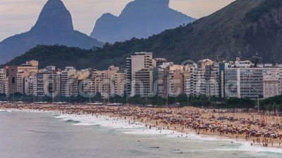 Beach Time Lapse Rio Copacabana Zoom stock video footage