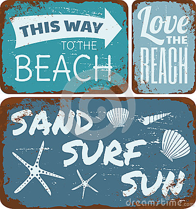 Free Beach Tin Signs Collection Stock Photo - 32367260
