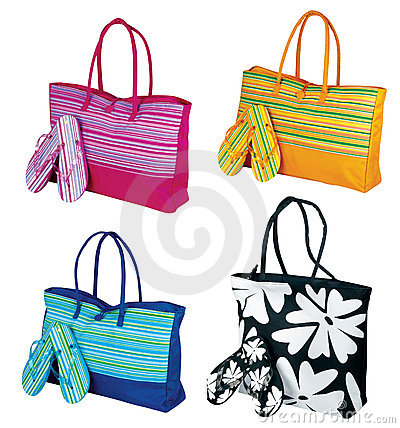 Beach tote bag and flip flop