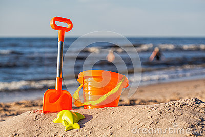 Beach toy set at coast