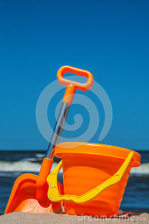 Beach toy set at seaside