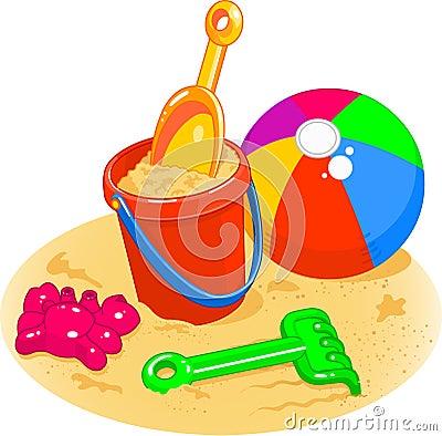 Free Beach Toys - Pail, Shovel, Ball Royalty Free Stock Image - 13964286