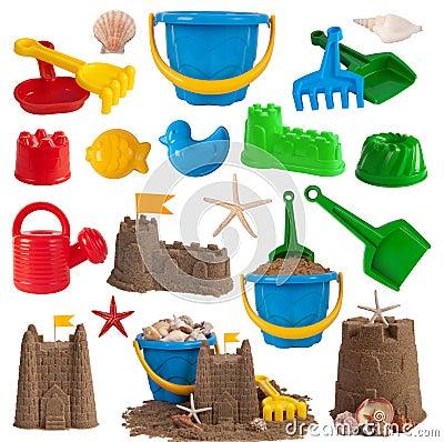 Beach toys and sand castles
