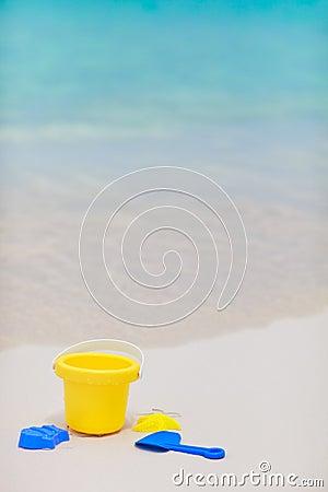 Beach toys on tropical beach