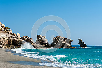 Beach of Trio Petra on Crete