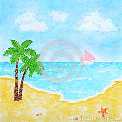 Beach and Tropical Sea or Ocean Summer Landscape