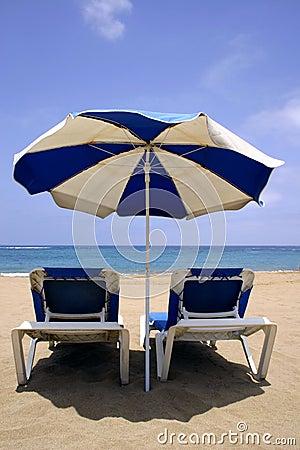 Beach Umbrella and Beds