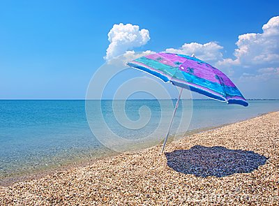 Beach umbrella, sea and sky