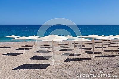 Beach umbrella on tropical resort