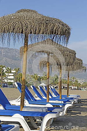 Beach umbrellas and beds