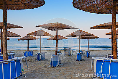 Beach umbrellas and chairs