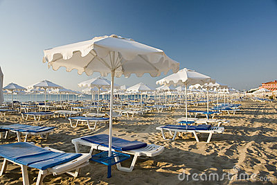 Beach umbrellas and loungers