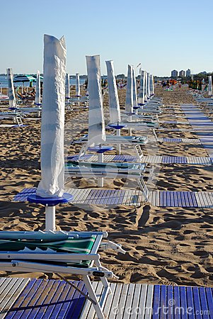 Beach umbrellas and sunbed