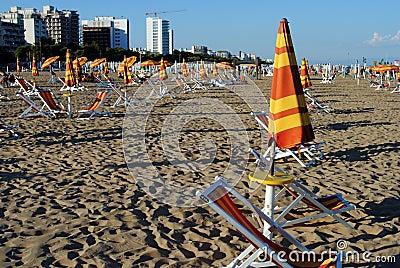 Beach umbrellas and sunbed