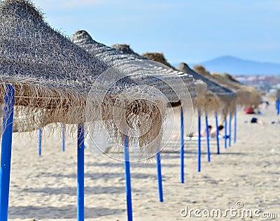 Beach with umbrellas.