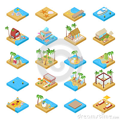 Free Beach Vacation Collection With Bungalow, Boat, Palm Trees And Tropical Elements. Isometric Flat 3d Illustration Royalty Free Stock Photos - 92487218