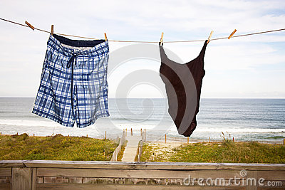 Beach Vacation Concept, Swim Suits on Clothes Line