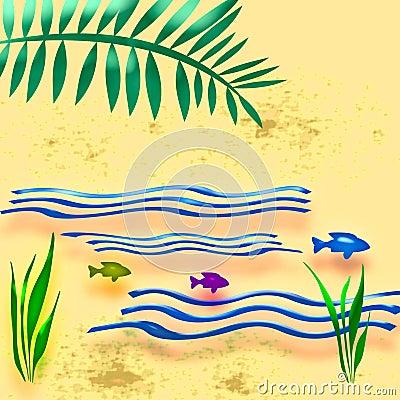 Beach vacation illustrated
