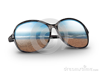 Beach Vacation Sunglasses on White