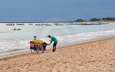 Beach Vendor, Jimbaran Bay, Bali Indonesia Editorial Stock Image