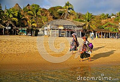 Native beach vendors, Mexico Editorial Photo