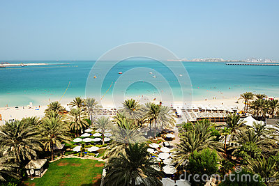 Beach with a view on Jumeirah Palm man-made island