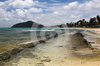 Beach View, Palm Trees and Rocks; Palm Island, Saint Vincent and the Grenadines.