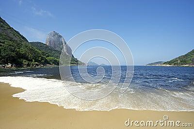 Beach View of Sugarloaf Mountain Rio de Janeiro Brazil