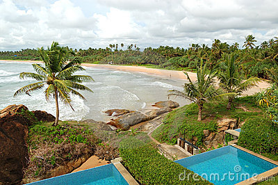 Beach view swimming pools at luxury villas