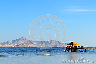 The beach with a view on Tiran island