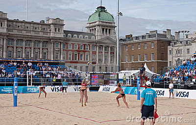 Beach Volleyball at Horse Guards Parade Editorial Stock Image