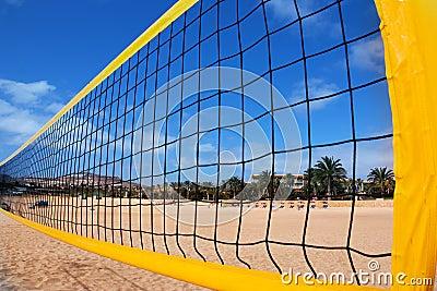 Beach volleyball net and beach