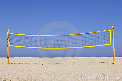 Beach volleyball net on sandy