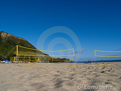Beach volleyball nets.