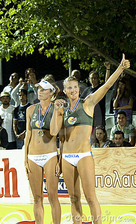 Beach volleyball-The Nystrom sisters Editorial Stock Photo