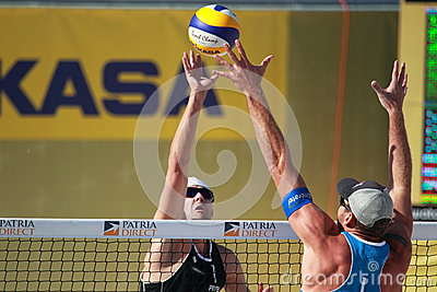 Beach volleyball - over the net Editorial Stock Image